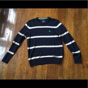 American Eagle Men's Striped Sweater Blue
